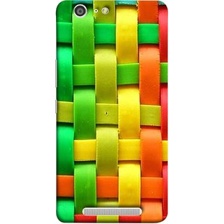 FUSON Designer Back Case Cover For Gionee Marathon M5 (Bright And Beautiful Colour Strips And Band Wave )