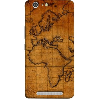 FUSON Designer Back Case Cover For Gionee Marathon M5 (World Map Altitude And Longitude Countries India )