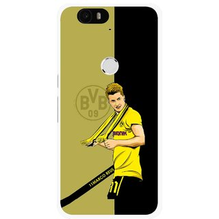 Snooky Printed Sports Player Mobile Back Cover For Huawei Nexus 6P - Black