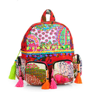The House of Tara Patchwork Fabric Backpack in Kantha Work HTBP 140