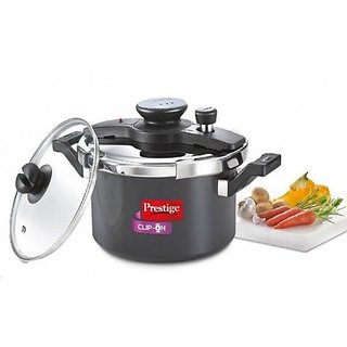 Prestige Clip on hard anodised 5 ltr pressure cooker Universal Lid along and glass lid with ladle holder-20326