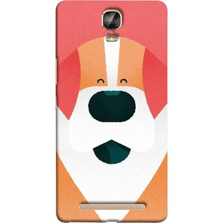 FUSON Designer Back Case Cover For Gionee Marathon M5 Plus (Big Smiling Puppy Canvas Painting Close Up Photo)