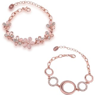 Om Jewells Combo Of Two Rose Gold Plated Flower Delicate Bracelets For S And Women Co1000049