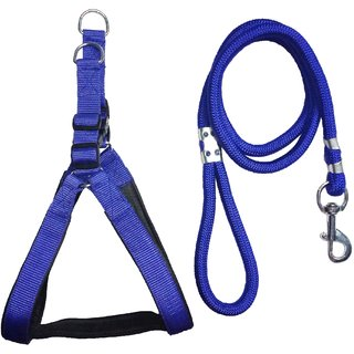 Petshop7 Blue Nylon Padded adjustable Dog Harness  Leash Rope 1 Inch for Medium size Pet (Chest Size  24-29) (Blue)