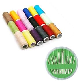 Free Needle Set (24 Needles) with 18 Assorted Color Polyester Sewing Threads 150 m spool length