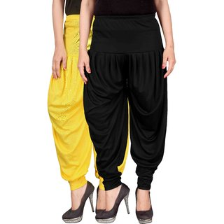 Dada Shopy Combo 02 Womens Lycra Dhoti Patiala Salwar Yellow and Black color FREE SIZE