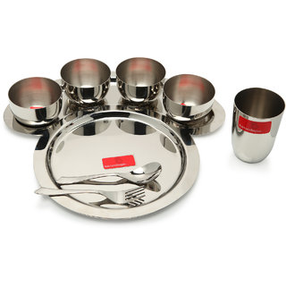 Bartanshopee Stainless Steel Thali Set (1 Plate, 4 Bowls,1 fork,1 glass,1 spoon)