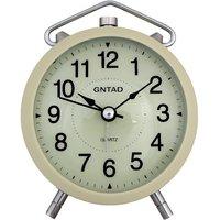 E DEAL Round Shape Cream color Beep Analog Alarm Clock With Led Light - EDALRM014