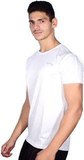Scoop dry-fit white round neck short-sleeve