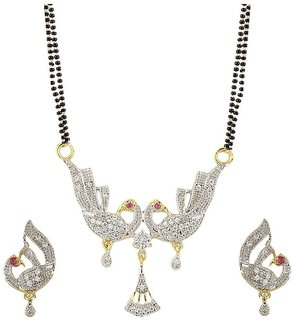 Bhagya Lakshmi American Diamond peacock design Mangalsutra Pendant set with earring and Chain for Women