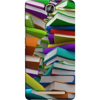 FUSON Designer Back Case Cover For Gionee Marathon M5 Plus (Stack Of Colorful Books White Pages School)