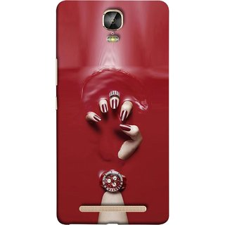 FUSON Designer Back Case Cover For Gionee Marathon M5 Plus (Lady Hand With Maroon Watch Nail Polish )