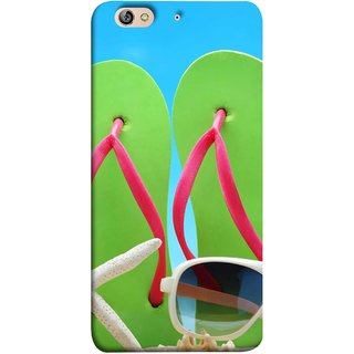 FUSON Designer Back Case Cover For Gionee Elife S7 (Green Chappals Sand Starfish Sunny Day Sunshine)