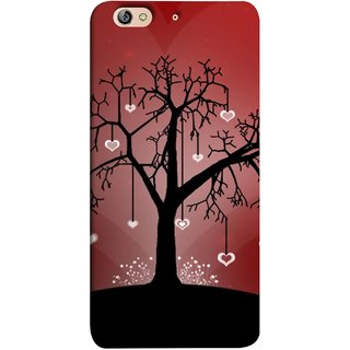 FUSON Designer Back Case Cover For Gionee Elife S7 (Tree Silhouette Spring Cherry Tree Lovers Shining )