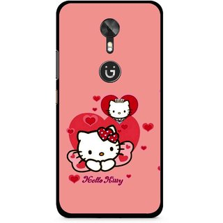 Snooky Printed Pinky Kitty Mobile Back Cover For Gionee A1 - Pink
