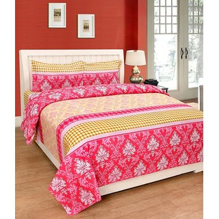 Acmura Home Essentials Cotton Double Bedsheet - with two pillow covers (Queen Size)