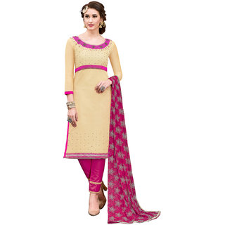 Swaron Beige and Pink Bead work Chanderi Semi Stitched Salwar Suit