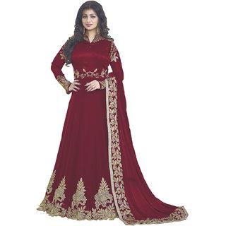 Swaron Maroon Zari Embroidery Georgette,Dhupion Semi Stitched Anarkali Suit