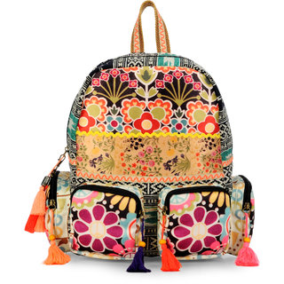 The House of Tara digitally printed and cotton durrie backpack (Multicolor)