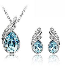 CYAN Ocean Blue Austrian Crystal Pendant Set with Crystal Earings