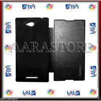Aara Diary Case Flip Cover For Sony Xperia C S39H C2304 C2305 - Black