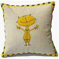 Cream And Yellow Colour Embroidered Cushion Cover