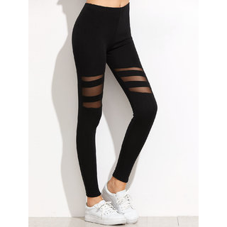 Aashish Fabrics - Black Mesh Style Legging