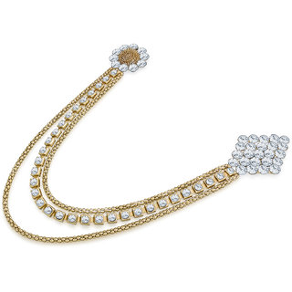 Luxor Gold Plated Gold  White Fashionable Floral Patteren Saree Brooch for Women