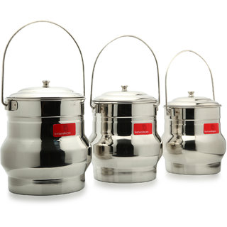 Bartanshopee Stainless Steel Milk Container Set (3 Pieces)