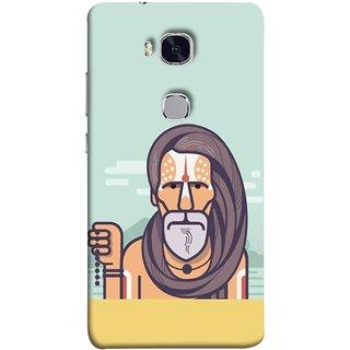 FUSON Designer Back Case Cover For Huawei Honor 5X :: Huawei Honor X5 :: Huawei Honor GR5 (Himalaya Sadhu Kumbh Mela Beard Rudraksh Mala)