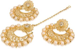 The Luxor Beautiful Golden Plated Maangtikka And Earrings Set