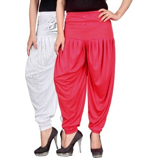 Dada Shopy Combo 02 Womens Lycra Dhoti Patiala Salwar White and Pink color FREE SIZE