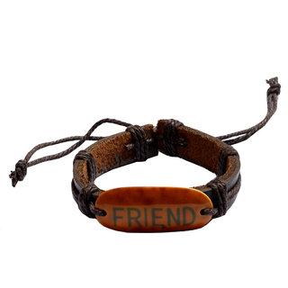 Men Style Genuine Leather Best Friend Square Adjustable Cotton Dori Wristband for Men SBr007027 Multicolor Leather And Alloy Bracelet For Men and Women