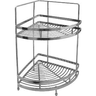 Stainless Steel Double Shelf Basket (Silver)
