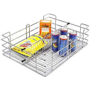 Truphe 19 W X 20 D X 4 H inches Partition Basket Modular Kitchen Basket Stainless Steel Basket