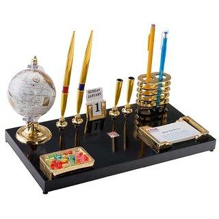 kebica 4 Socket Pen Stand With Globe Compartment Desk Organizer