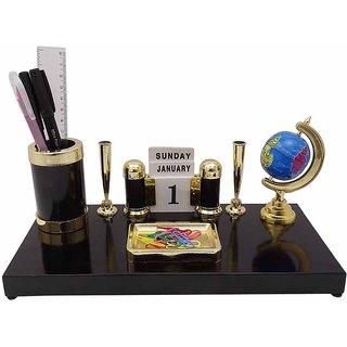 Kebica 6 Compartments Plastic Desk organizer Pen Stand Plastic Black