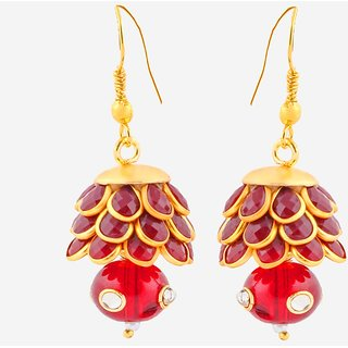 Deals e Unique Hanging Pacchi Fashion Traditional Jhumki Red Color With Glass Beads