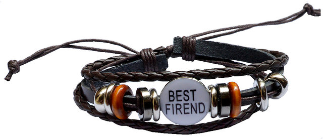 2c8fdfe04aeb5 Men Style Handmade Genuine Leather Best Friend Adjustable Cuff Wristband  SBr007002 Brown and Silver Leather Bracelet For Men and Women