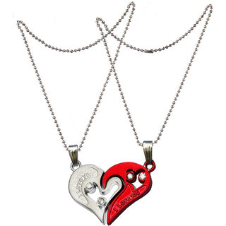 Men Style 2pcs His and Hers Heart-shape I Love You Couple Necklace Red and Silver Zinc Alloy Heart Necklace Pendant For Men And Women