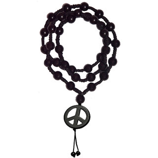 Men Style Shamballa 5mm crystal beaded necklaces jewelry With 43mm Width Peace Sign Symbol Black Cotton Dori And Crystal Round Chain For Men And Boys