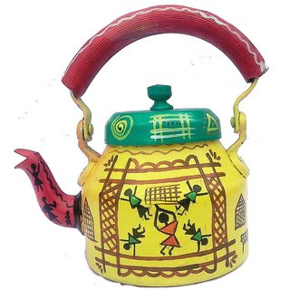 Handpainted Tea Kettle (Playing Kids) Showpiece  22 Cm (Aluminium  Yellow)