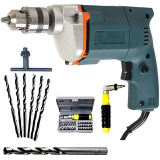 Tiger Powerful Electric Drill Machine 10mm With + 6HSS  1 Masonry Bit + 41 pcs Screwdriver Set