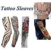 Wearable Arm Tattoo Skin Cover Sleeves For Style / Biking Sun Protection(2pair)