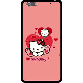 Snooky Printed Pinky Kitty Mobile Back Cover For Oppo R1 - Pink