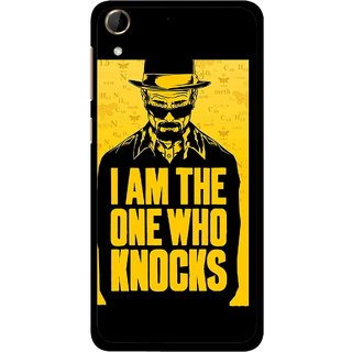 Snooky Printed Who Knocks Mobile Back Cover For HTC Desire 728 - Black