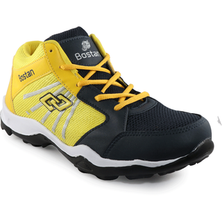 Bostan High Ankle Navy & Yellow Sports Shoes for Men