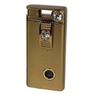 PIA INTERNATIONAL Gem Stone Studded Golden POLISHED Stylish Refillable Cigarette Lighter