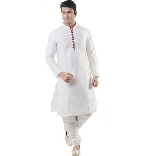 Larwa Men's White Relaxed Fit Ethnic Wear