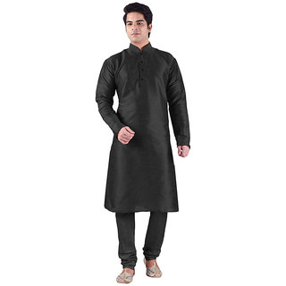 Larwa Men's Black Relaxed Fit Ethnic Wear
